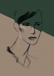 fashion woman style shadow beauty portrait fashionart look watercolor aquarelle minimalism