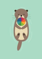 otter lollipop rainbow cute love sweet