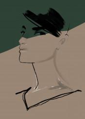 fashion fashionart portrait minimalism style shadow watercolor aquarelle lines strokes art look chic