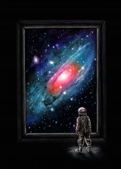 astronaut space painting galaxy stars colors cosmic intergallactic cosmonaut