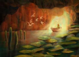 cave birds girl landscape fairytale storybook whimsical magical fantasy