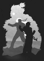 gamer games gaming video room street fighter fighting ninja darkness shadows black white