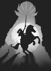 the legend of zelda link horse sword gaming gamer games video room darkness bvlack white shadows
