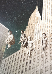 collage vintage newyork city family surreal surrealism psychedelic lsd suicide love space cosmos