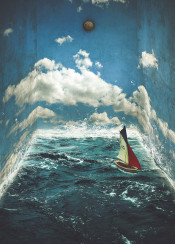 room surreal strange clouds clock ocean waves summer boat walls breeze closed water earth sail wander texture