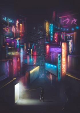 city dark scifi surreal futuristic light japanese asian neon lights strange big watcher nostalgic creepy storybook storytelling