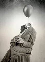 collage vintage balloon old surreal surrealism saxo jazz music neworleans psychedelic hipster