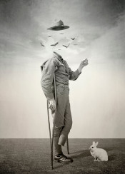 collage vintage surreal psychedelic oldie sixties soldier war rabbit veteran vulture
