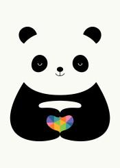 panda love heart rainbow geometric cute funny