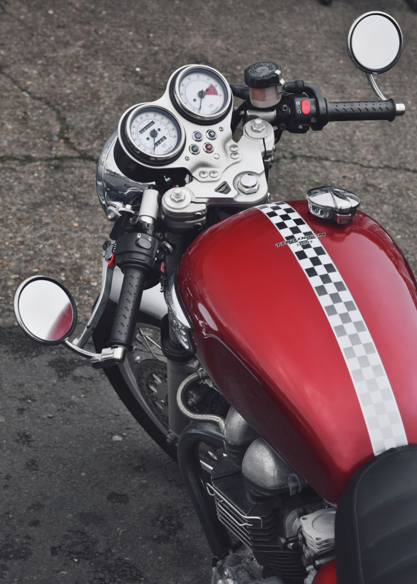 top view of a front part of modern TRIUMPH motorcycle 260725