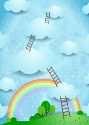 fantasy surreal landscape outdoor panorama scale ladder climbing sky cloud cloudscape meadow country countryside rainbow imagination tree land childish