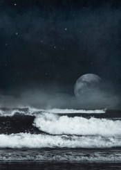 wave manipulation planet space mood ocean water stars mist seascape dark surreal nature