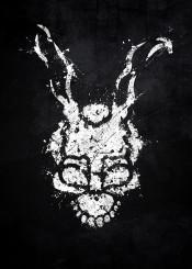 donnie darko movie film classic scary rabbit symbol mask logo black white splat splatter