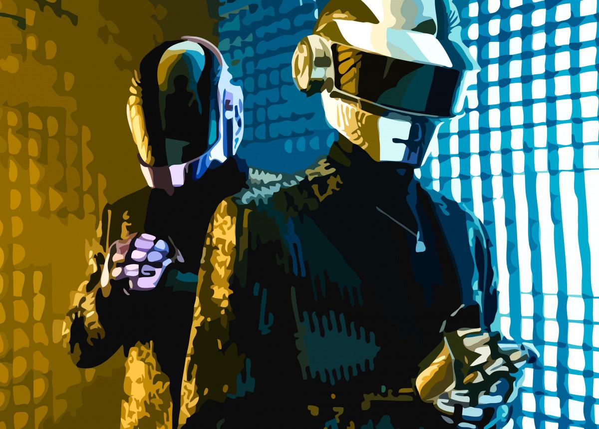 Vector art of the musician duo Daft Punk.