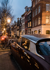 amsterdam vintage bicycles architecture europe car reflection night