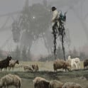'1920 - shepherd' from my 1920+ universe, yes it is a shepherd on the mechanical stilts smiley, cheers!