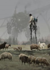 concept art painting mech illustration 1920 game