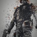 """I am the law!"" Splatter effect artwork inspired by Judge Dredd"