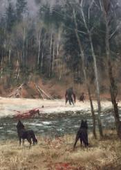 werewolf painting wild atmosphere dark fantasy