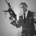 """Quantum"" Splatter effect artwork inspired by James Bond"