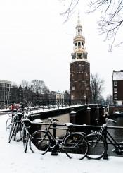 snow amsterdam tower winter europe
