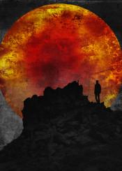 grunge dark black red silhouette sun rock mountains solitude bird wild barren space moon