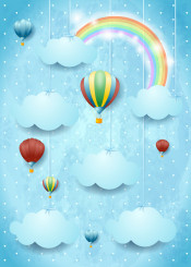 sky cloud cloudscape fantasy surreal imagination rainbow illustration hanging balloon hot oon dirigible aircraft colorful childish kid outdoor