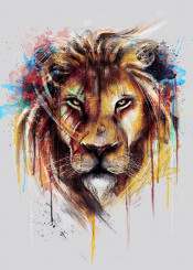 lion cool watercolor drips wild wildlife