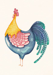 rooster watercolor feathers bird animal cock peacock multicolor colorful lines stripes strokes dots chevron pattern print chinese year mexico chicken chick pollo gallo