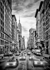 new york city manhattan 5th avenue fifth street scene cars architecture monochrome black and white urban usa sight typical classical nyc traffic automobile