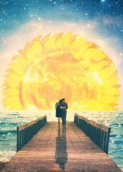 love couple sunrise sea sunflower sky