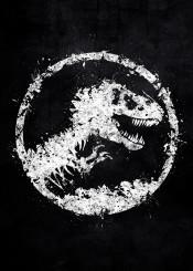 jurassic park dinosaur dinosaurs world t rex movie movies symbol logo white black splat splatter