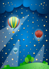 night hot air balloon dirigble aircraft cloud cloudscape nocturne beam light spot spotlight fantasy surreal imagination star landscape countryside fairy tale magical mystery outdoor illustration sky
