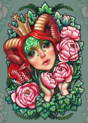 titania shakespeare floral botanical peonies leafs medusa dollmaker artist artistic phaun fantasy crown fairy queen horns