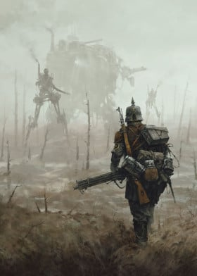 mech illustration painting gameart videogame atmosphere 1920 nomansland wwi mechs dark war