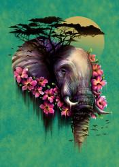 elephant nature flowers bird trees sun wildlife digital art design illustration cool neon colors painting