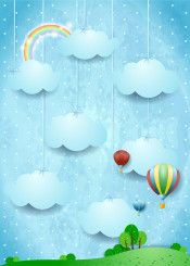 sky landscape country countryside cloud cloudscape day rainbow surreal fantasy imagination hanging fairy tale balloon hot air dirigible aircraft transportation meadow grass tree illustration sunny spring summer magical suggestive