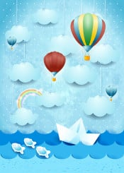 sky cloud cloudscape sea seascape landscape boat paper balloon hot air rainbow fantasy surreal imagination magical suggestive fairy tale hanging fish water childish kid illustration wave spring summer