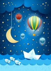 night nocturne sea seascape sky cloud cloudscape landscape boat paper balloon hot air dirigible aircraft fantasy surreal imagination magical suggestive fairy tale moon moonlight light fish water wave illustration childish kid star mystery dark hanging