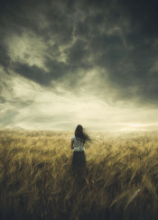 photomanipulation photography field digital girl sister weather 2010 life worries black hair skirt filipino asian sky grass of gold love thoughts