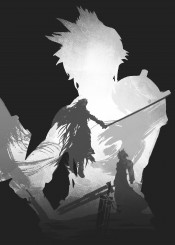 cloud strife demon sword sephiiroth villian kind good vintage grey minimal simple hair gamer games gaming game swords buster blade blades symbol ex soldier sora characters character tv film fanfreak fan art ink inking japan japanese nin strong