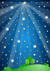 night nocturne star sky landscape dark light sparkle beam spot spotlight fantasy surreal imagination suggestive magical countryside country illustration fairy tale tree meadow land