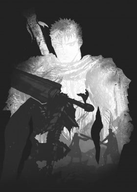 guts beserk anime manga grey demon sword strong villian hero armour fight fighting ink inking japan japanese china hair power white black tv cgi 2017 fanfreak monochrome simple minimal fan eyes scar death water