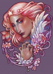 art nouveau medusa dollmaker morning star dew allegory purple hair floral flower fairy queen
