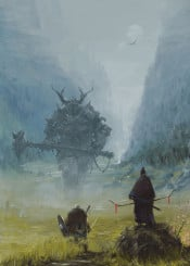 warlord giant ancient samurai viking myth conceptart illustration painting storytelling atmosphere fantasy dark