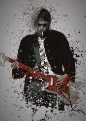 music legends splatter pop culture musician nirvana kurt cobain guitar