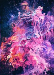 abstract dark dream lucid colorful trippy mountains galaxy space nature paint digital glitch