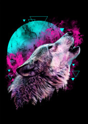 wolf animal howl nature forest neon colors digital art design graphic painting illustration abstract geometric lines pattern
