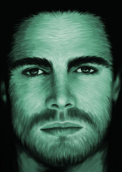 stephenamell arrow actor portrait painting brushstrokes maleactor green superheroe
