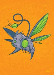 hummingbird bird bee honeybee drone robot droid pollination pollinate machine insect green gray grey bug flower bud wasp hornet